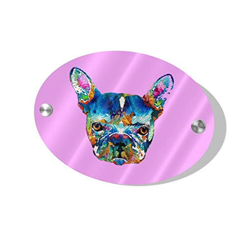 - JEFFERYjSPARKS Colorful French Bulldog Dog Door Sign 5.5x7.5 Inches Wall Decor Fun Universal Household Signs Bathroom Consultation Etc