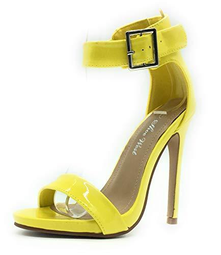 Dress Yellow Sandals (Sexy Open Toe Pump Shoes -Cross Strap Party Dress Platfoms Ankle Strap Dress High Heels Stilettos Yellow pat 9)