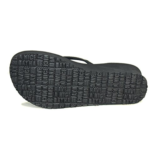 Tongs compensées, sandales Gioseppo model Grazia couleur noir avec Strass (40)