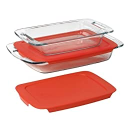 Pyrex Easy Grab 4-Piece Value Pack, Includes 1, 3-Qt Oblong, 1, 2-Qt Oblong, With Red Plastic Covers