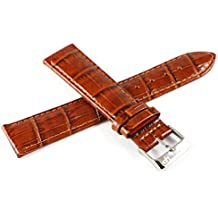 """Lucien Piccard 20MM Alligator Genuine Leather Watch Strap 7.5"""" Caramel Brown With Silver LP Buckle"""