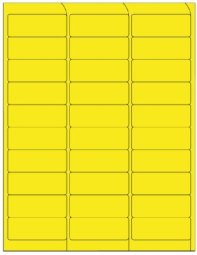 (Compulabel 311152 Fluorescent Yellow Address Labels for Laser Printers, 2 5/8 x 1 Inch, Permanent Adhesive, 30 per Sheet, 100 Sheets per Carton)