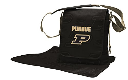 Wild Sports NCAA College Purdue Boilermakers Messenger Diaper Bag, 13.25 x 12.25 x 5.75-Inch, Black by Wild Sports