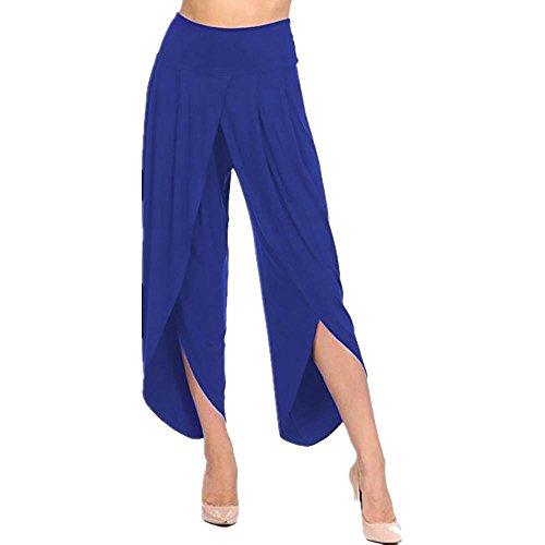 Clearance Womens Trousers vermers Women's Layered Wide Leg Flowy Pants High Waist Irregular Cross Wide Legs Pants(L, Blue) by vermers
