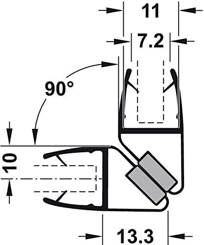Gedotec Magnet-Dichtung Ducha Sellado 90°para Duschtrennwände ...