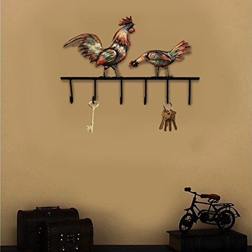 (Crafia Decorated Wall Mounted Rooster Shape Iron Key Holder and Key Hooks | Decorative Unique Key Organizer with 6 Hooks)
