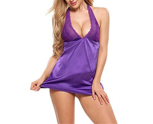Exotic Sexy Lingerie Hot Erotic Baby Doll Night Dress Women Satin Lace Nightwear Sleepwear Sex Pink Purple -