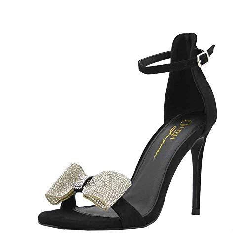 - Olivia Jaymes Women's Dress Sandal | Round Toe | Rhinestone-Embellished Bow | Stiletto Heel Sandals (8.5, Black)