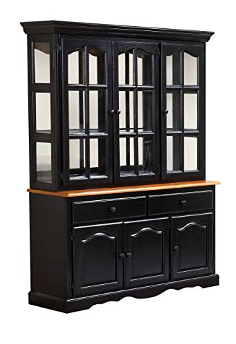 Sunset Trading DLU-22-BH-BCH Black Cherry Selections Buffet and Hutch, Three Door | Two Drawer, Distressed Antique