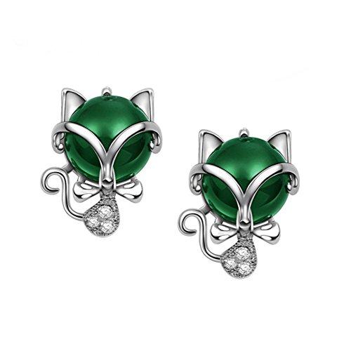 (BBG Ladies Cute Fox Earrings / s925 Sterling Silver Earrings/Creative Fun Animal Small Fox Agate Earrings Green,Little Fox,Earring )