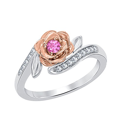 Beautiful 0.25 ctw Disney Belles 14k Two Tone Gold Plated Created Pink Sapphire & White CZ Fashion Ring-Flower Ring White Sapphire Flower Ring