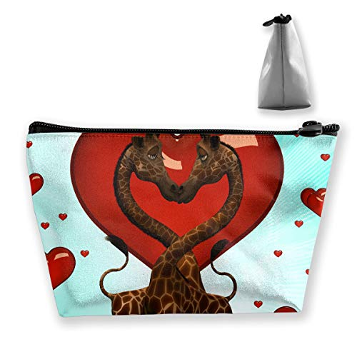 (Makeup Bag Cosmetic Giraffe Love Red Portable Cosmetic Bag Mobile Trapezoidal Storage Bag Travel Bags with)