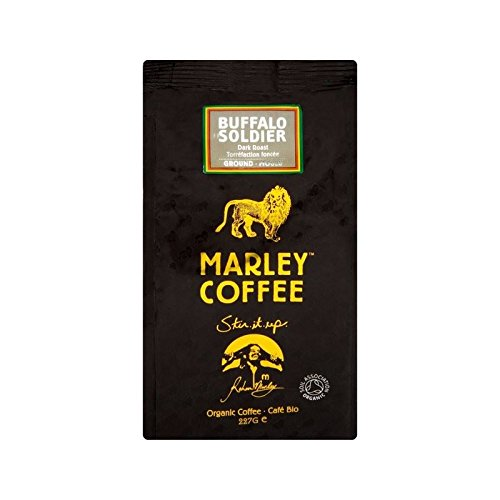 Marley Coffee Organic Dark Roast Ground Coffee - Buffalo Soldier 227g - Pack of 4
