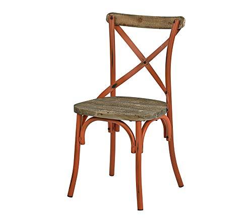 Оsp Dеsigns Somerset X-Back Metal Chair with Hardwood Rustic Walnut Seat Finish, Antique Orange