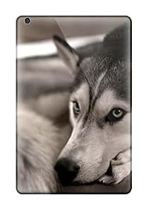 Tpu Case Cover Compatible For Ipad Mini/mini 2/ Hot Case/ Siberian Husky On The Couch