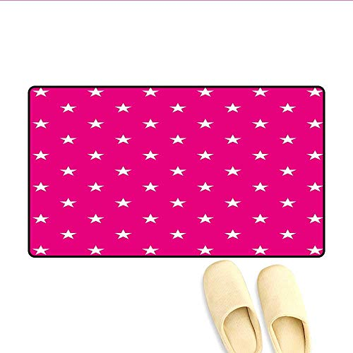 "Bath Mat Symmetrical Pattern with White Stars Girlish Pattern Lovely Retro Party Tile Door Mat Indoors Bathroom Mats Non Slip Hot Pink White 16""x24"""