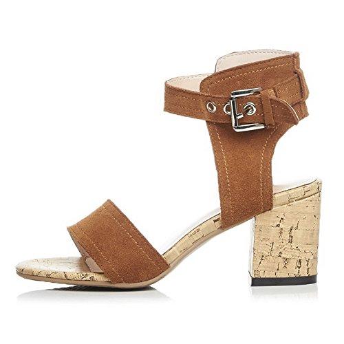 AllhqFashion Women's Soft Material Buckle Open Toe High Heels Solid Sandals Brown Kje9bIAWx2