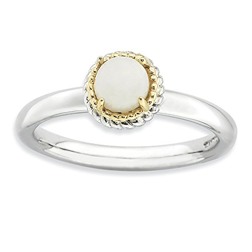 925 Sterling Silver 14k White Agate Band Ring Size 8.00 Stone Stackable Gemstone Natural Fine Jewelry Gifts For Women For Her