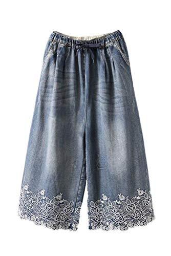 Minibee Women's Denim Cropped Capris Jeans Pants Drawstring Waist Wide Leg Trousers Style 2-M-Blue