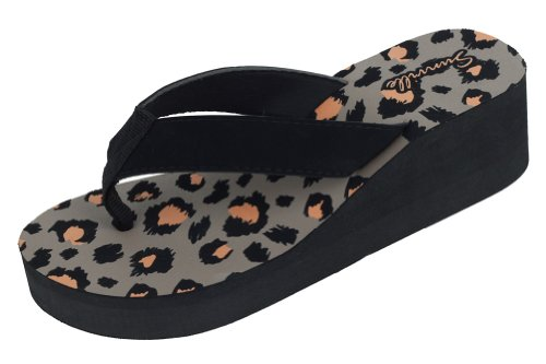 Sunville Women`S Fashion Flip Flops,5 B(M) US,Leopard