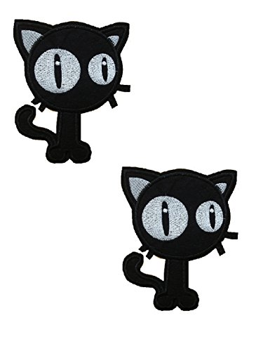 2 pieces BIG-EYED CAT Iron On Patch Fabric Applique Motif Decal 4 x 3.4 inches (10 x 8.5 - Cat Black Eyed