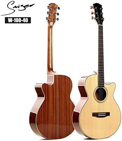 HVTKLN 40インチハイエンドアコースティックギタースプルース合板光サペリ HVTKLN (Color : Wood color, Size : 40 inches)