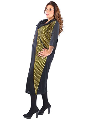 Vêtement Femme Grande Taille Robe filet noir jaune