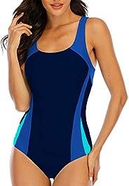 Halcurt Women's Sports One Piece Swimsuit Splice Lap Bathing Suit Chlorine P