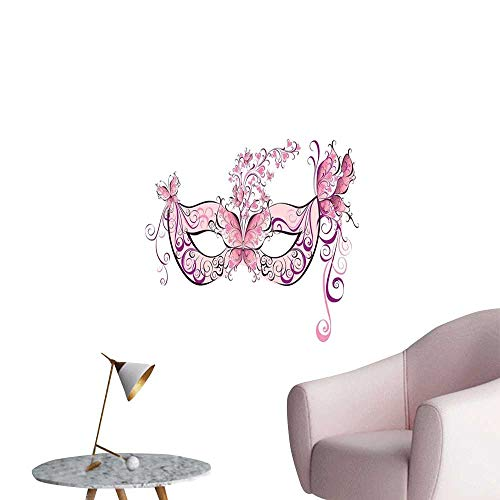 Masquerade Wall Paintings self-Adhesive Butterfly Masks for Masquerade Italian Fantasy Floral Design Art Print 3D Bathroom Decal Pink Purple White W8 x H10]()