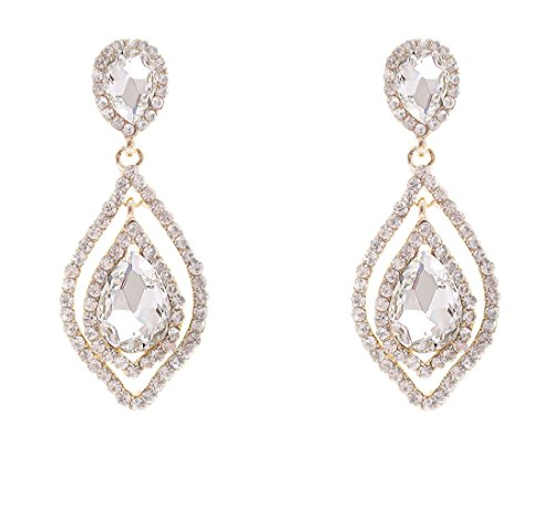 NLCAC Women's Pear Shape Teardrop Crystal Earrings Dangle Long Rhinestone Chandelier Earring Wedding Jewelry for Bride Clear ()