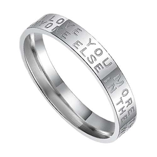 """Women's Wedding Rings Stainless Steel Her Bands Craved """"LOVE YOU MORE..."""" Width 3MM Size 7"""