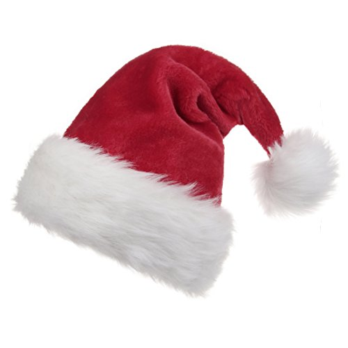 B-Land Unisex-Adult's Santa Hat, Velvet Christmas Hat with Plush Trim ∧ Comfort -