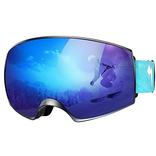 WhiteFang Ski Goggles Snow Snowboard Goggles Over Glasses Goggles Dual Layer Lens, Anti-Fog 100 UV400 Protection for Men Women
