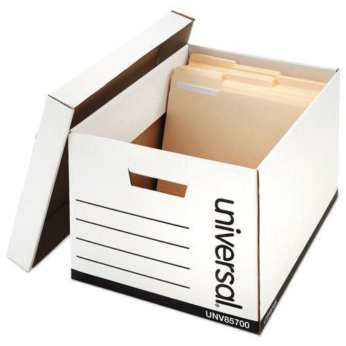 Universal 85700 Extra-Strength Storage Box w/Lid, Letter/Legal, 12 x 15 x 10, White, 12/Carton