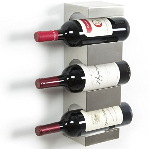 Stainless Steel Wine Rack - Wide Multi Sectional Bottle Holder with Top Shelf Section - Modern Art Design - Wall Mount (3 (Modern Bottle Rack)