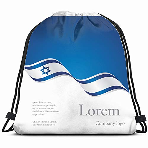 New Brochure Abstract Design Modular Israel Signs Symbols Drawstring Backpack Bag For Kids Boys Girls Teens Birthday, Gift String Bag Gym Cinch Sack For School And ()