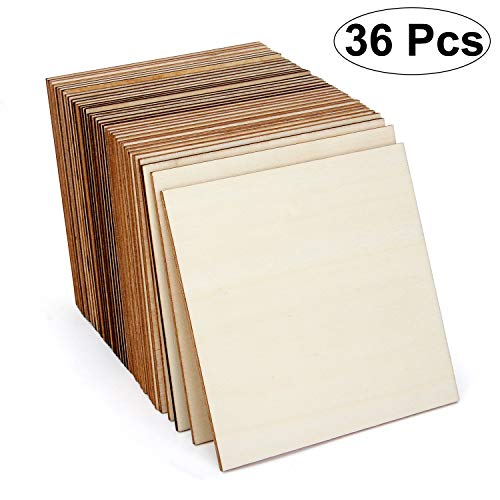 Blisstime 36 Pcs 4 Inch Unfinished Wood Squares Wood Coasters Unfinished Blank Wood Pieces Wood Tiles for Scrabble Games Painting, Writing DIY Supplies Home Decoration