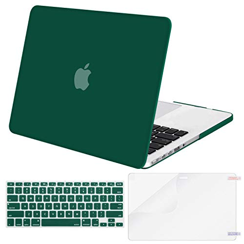 MOSISO Case Only Compatible Older Version MacBook Pro Retina 13 Inch (Model: A1502 & A1425) (Release 2015 - end 2012), Plastic Hard Shell & Keyboard Cover & Screen Protector, Peacock Green (Macbook Pro With Retina Display Laptop Lock)