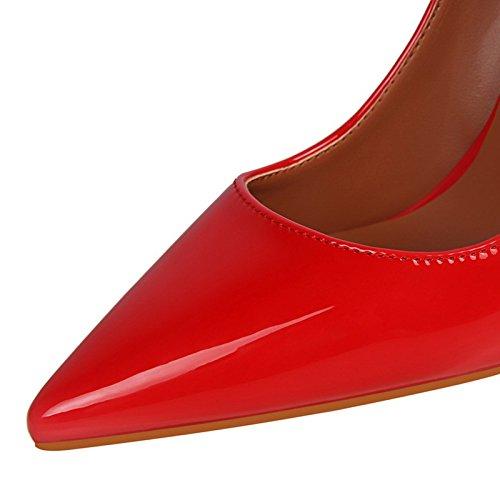 señaló Solo cómodos Europeo de Moderno Brillante señoras Trabajo' Zapatos tacón Sexy Simple Laca blue YMFIE de Zapatos Estilo OwBP0BS