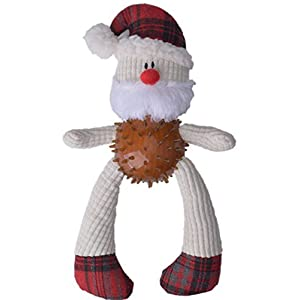 BINGPET Christmas Plush Dog Toys with Rubber Ball Body Santa Claus Click on image for further info.