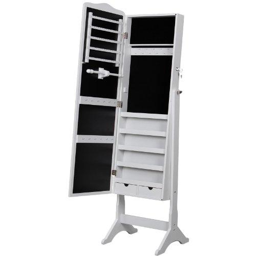 Songmics 158 x 41 x 38 cm Schmuckschrank Weiß für Ketten Ringe Ohrringe JBC82W