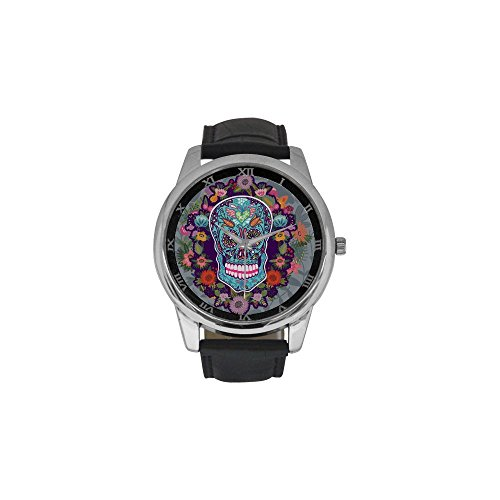 Sugar Skull Men's Stainless Steel Leather Strap Waterproof Band Wrist Watch for Dia De Los Muertos Collectors - Black