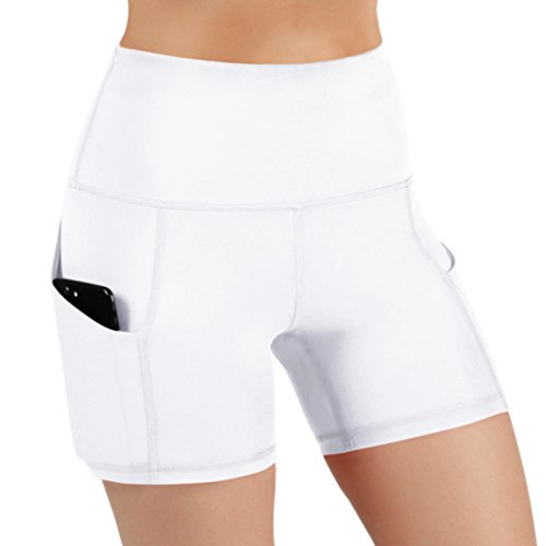 ODODOS High Waist Out Pocket Yoga Short Tummy Control Workout Running Athletic Non See-Through Yoga Shorts,White,Medium