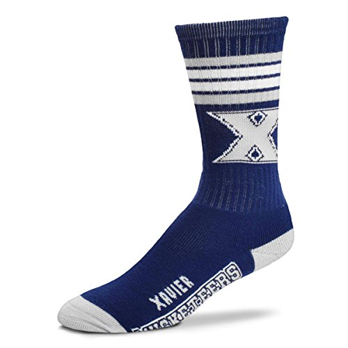 For Bare Feet NCAA 4 Stripe Deuce Crew Men Socks-Xavier Musketeers-Large ()