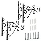 "BTSKY Sturdy Metal Plant Hanging Hook, Wall Plant Hanger for Outdoor Indoor, 10"" Brackets for Hanging Bird Feeders, Lanterns, Planters, Wind Chimes, Ornaments with Screws, Black(4 Pcs)"