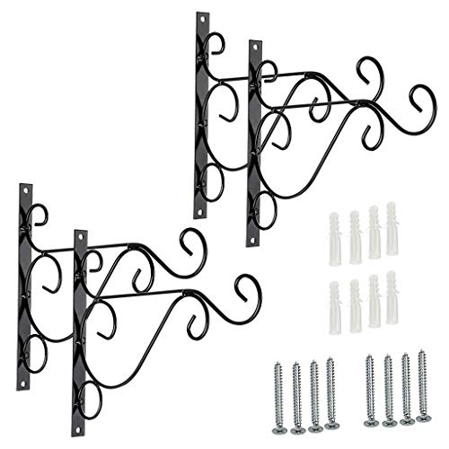 "Sumnacon Metal Plant Hanging Bracket Hook - 4 Pack 10"" Sturdy Wall Plant Hangers Indoor Outdoor Bracket for Hanging Bird Feeders,Lanterns,Planters,Wind Chimes,Ornaments with Screws"