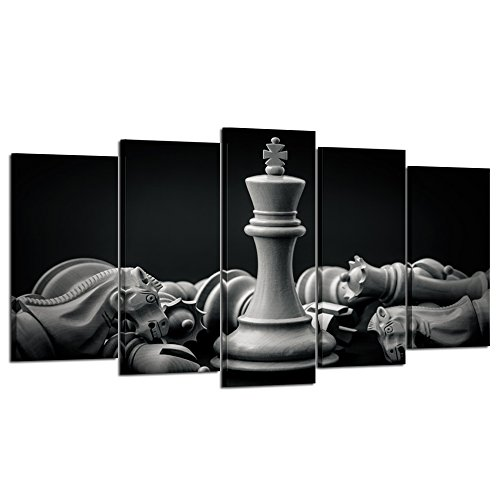Kreative Arts Black and White King and Knight of Chess Setup on Canvas Wall Art Paintings 5 Pieces Pictures Prints Poster Art Artworks for For Living Room Wall Decor (Large Size 60x32inch)