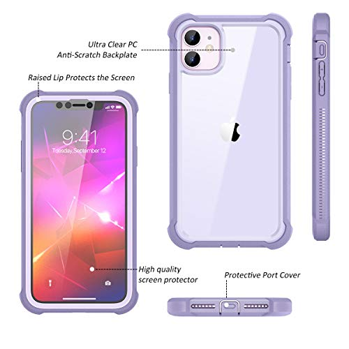 Dexnor iPhone 11 Case with Screen Protector Clear Rugged 360 Full Body Protective Shockproof Hard Back Defender Dual…