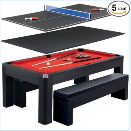 Park Avenue 7 Ft Pool Table Combo Set W/ Benches (Black, Large