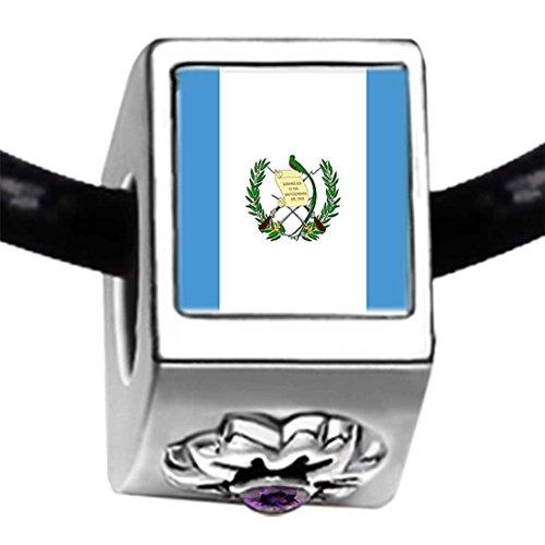 GiftJewelryShop Silver Plated Guatemala Flag Purple Amethyst Crystal February Birthstone Flower Bead Charm -